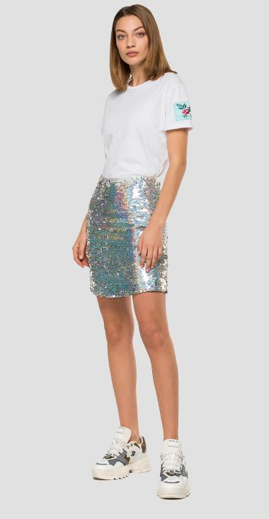 Miniskirt with hologram sequins - Replay W9804_000_83624_010_1