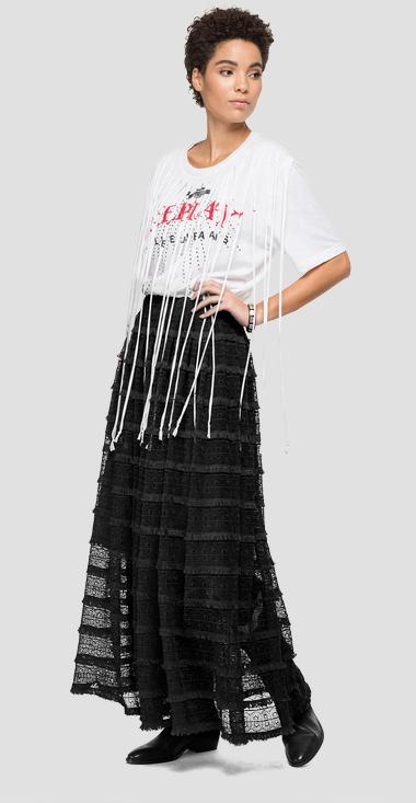 Lace long skirt with embroideries - Replay W9813_000_83640_098_1