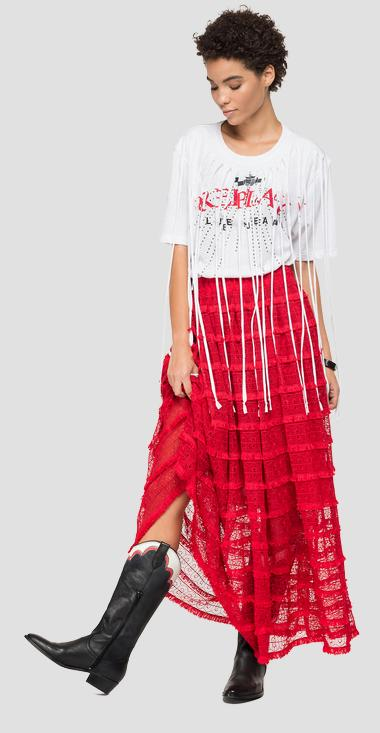 Lace long skirt with embroideries - Replay W9813_000_83640_555_1