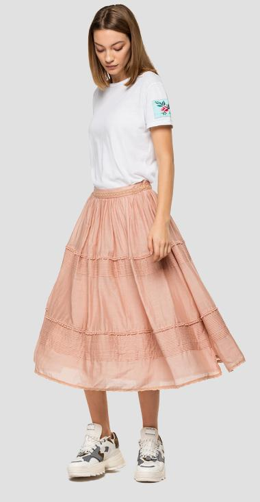Pleated skirt with trimming - Replay W9814_000_83038F_021_1