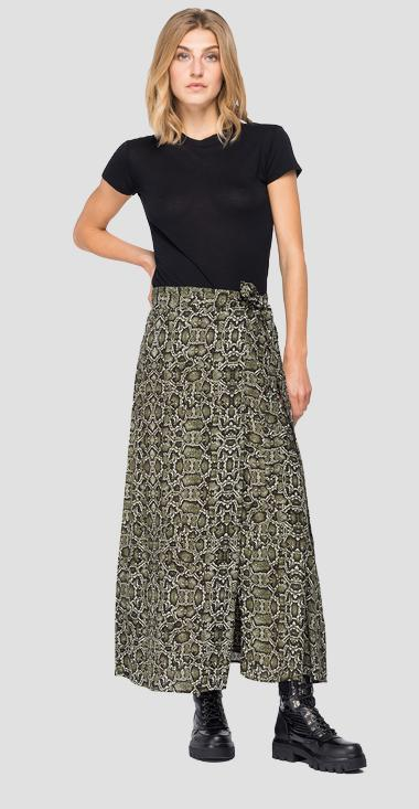 Long skirt with all-over python print - Replay W9823_000_72122_010_1