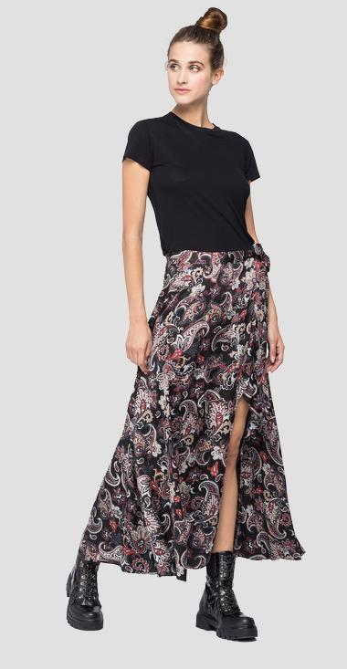 Long skirt with all-over paisley print - Replay W9823_000_72152_010_1