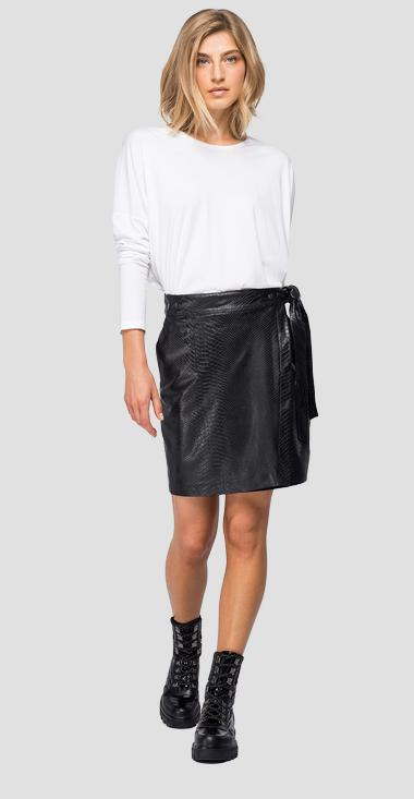 Eco-leather skirt with python print - Replay W9829_000_83980_098_1