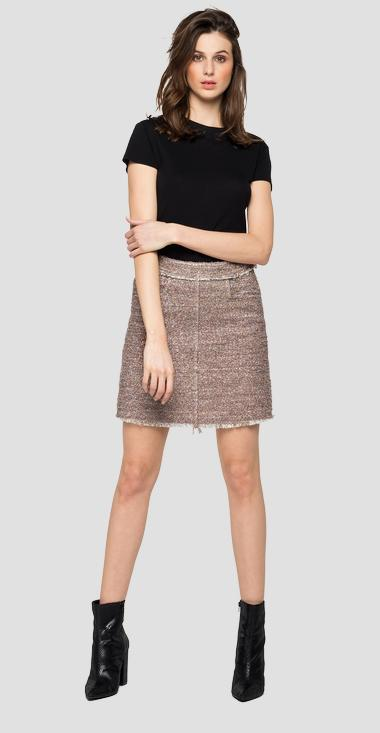 Short skirt with mélange lurex - Replay W9831_000_52366_020_1