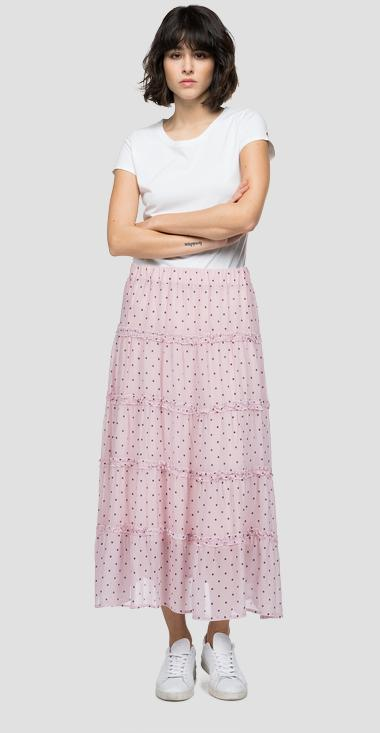 Skirt with frills and all-over dotted print - Replay W9840_000_72250_010_1