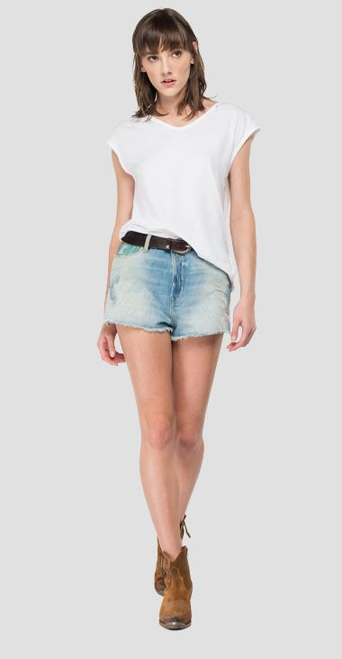 ROSE LABEL denim shorts with glitter - Replay WA425_000_108-896_010_1