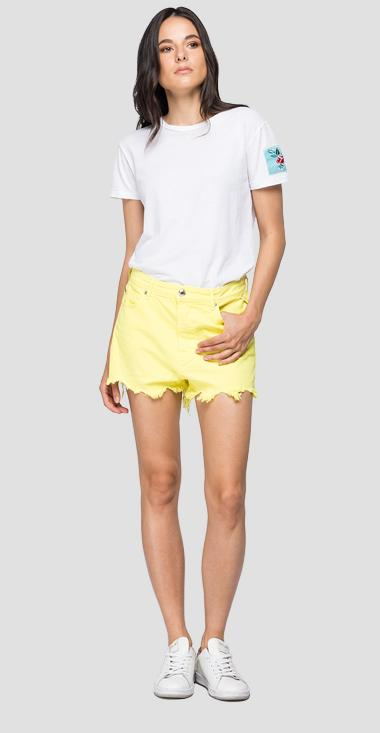 Denim short pants with cuts and fringes - Replay WA425_000_8363638_141_1