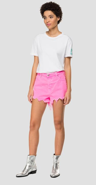 Denim short pants with cuts and fringes - Replay WA425_000_8363638_165_1