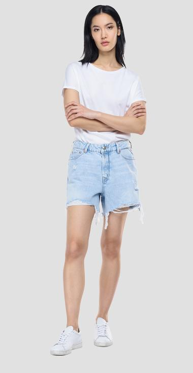 Shorts high waist in denim con strappi ROSE LABEL - Replay WA432T_000_108-935_011_1