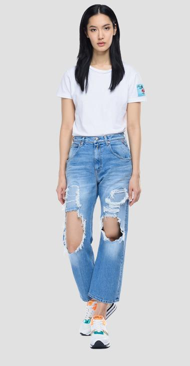 Jeans crop high waist tapared fit Zanha ROSE LABEL - Replay WA465T_026_319-957_009_1