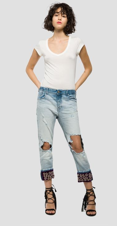 Boyfriend jeans with decorated turn-ups - Replay WA633_000_21A995S_010_1