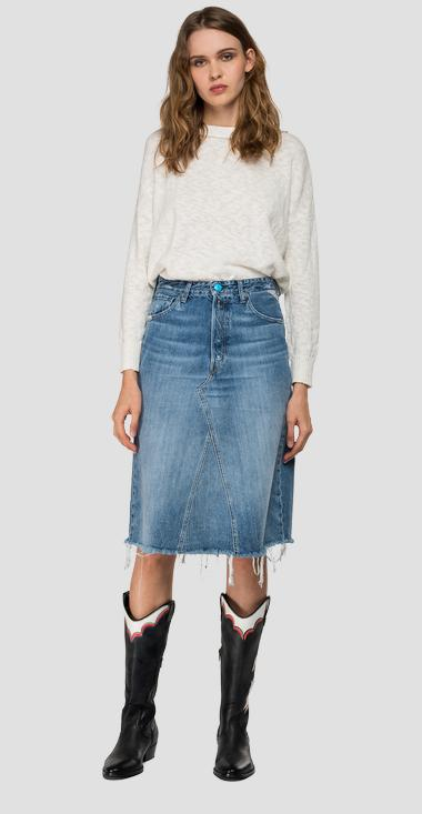 Denim midi skirt with rhinestones - Replay WA9158_000_50CR679_009_1