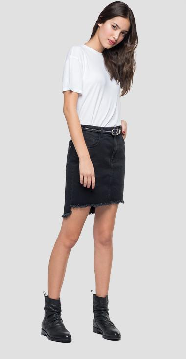 Denim mini skirt with raw cut - Replay WA9234_000_203-547_098_1