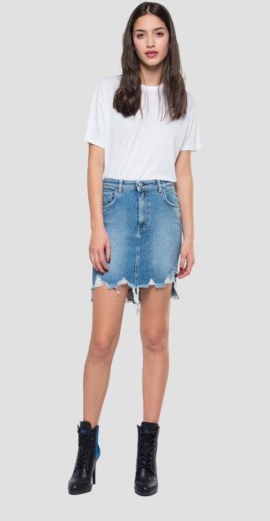 Denim mini skirt with breakages - Replay WA9234_000_207R591_010_1