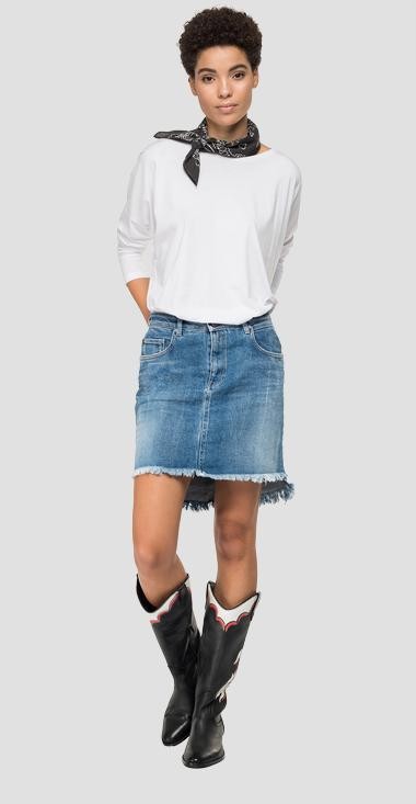 Asymmetric short skirt in denim Rose Label - Replay WA9234_000_83CR651_009_1