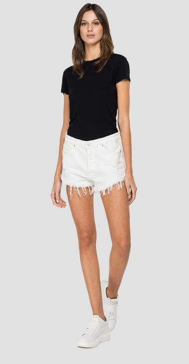 Denim shorts with fringed hem - Replay WB425_000_84053R8_100_1