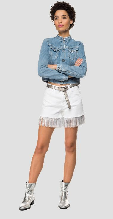Denim short pants with fringes - Replay WB685F_000_800525R_001_1