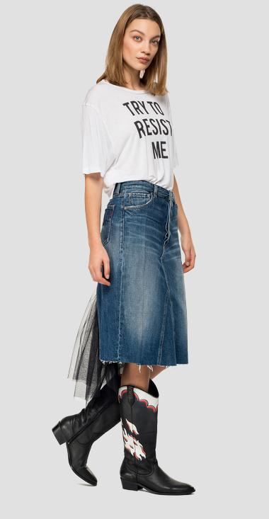 Midi skirt in denim and tulle - Replay WB9158_000_170-614_007_1