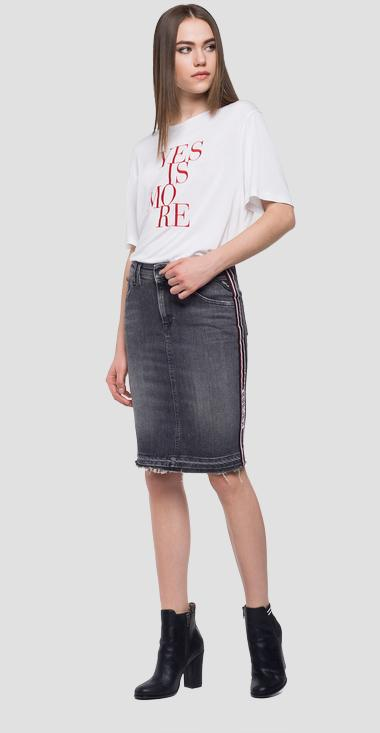 Knee-lenght skirt logoed stripe - Replay WB9210_000_145-382_009_1