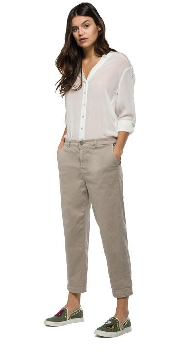 Relaxed-fit stretch cotton trousers - Replay WX8722_000_8551S80_603_1