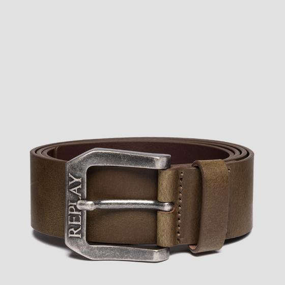 Leather belt with square buckle am2417.000.a3001