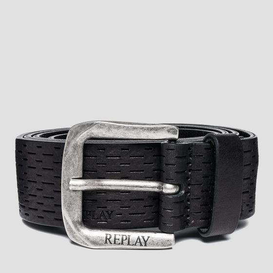 Men's pull up leather belt with logo am2442.000.a3007