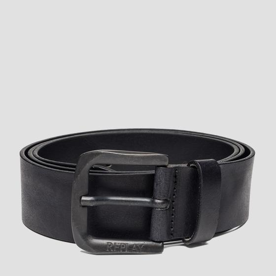 Leather belt with square buckle am2453.000.a3001e