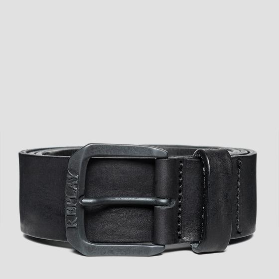 Leather belt with vintage effect am2515.000.a3077