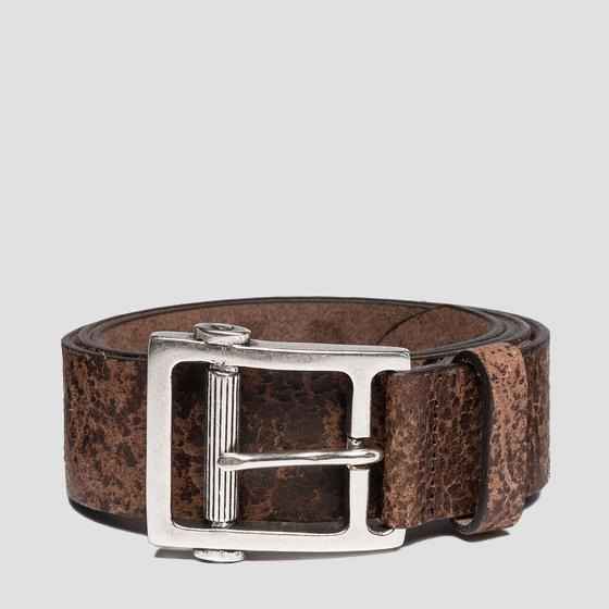 Leather belt with vintage effect am2530.000.a3002