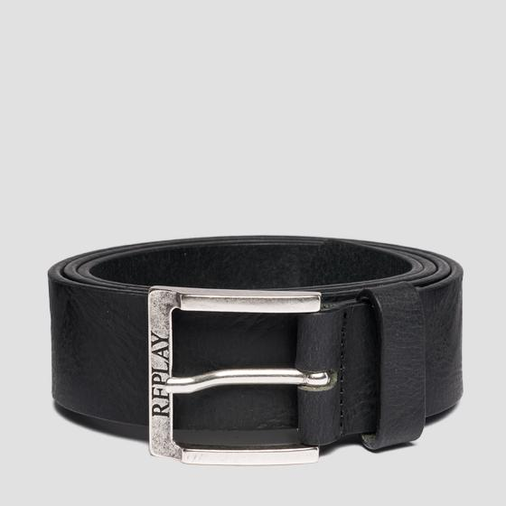 Leather belt with crinkle effect am2531.000.a3076a