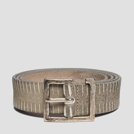 Leather belt with used effect am2544.000.a3098