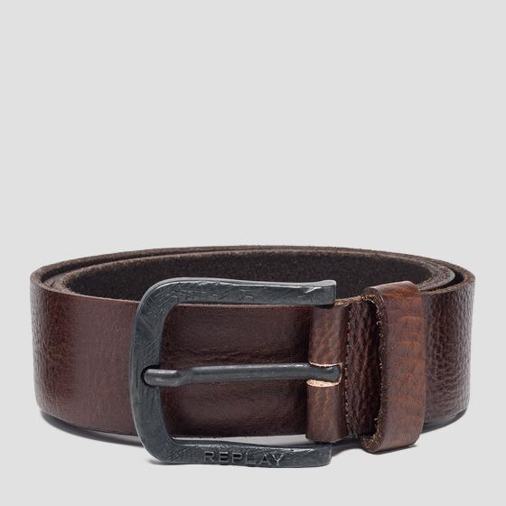 Leather belt with engraved buckle am2553.000.a3003e