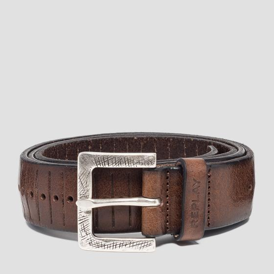 Engraved leather belt am2555.000.a3007