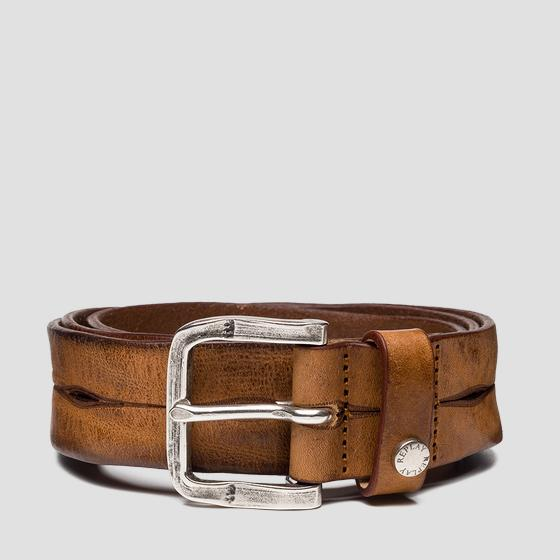 Leather belt with vintage effect am2589.000.a3077