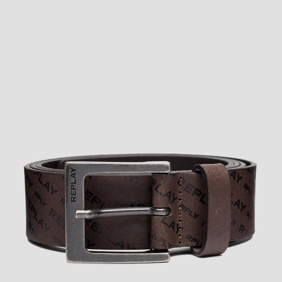 Brushed leather belt with all-over REPLAY writings am2615.000.a3001