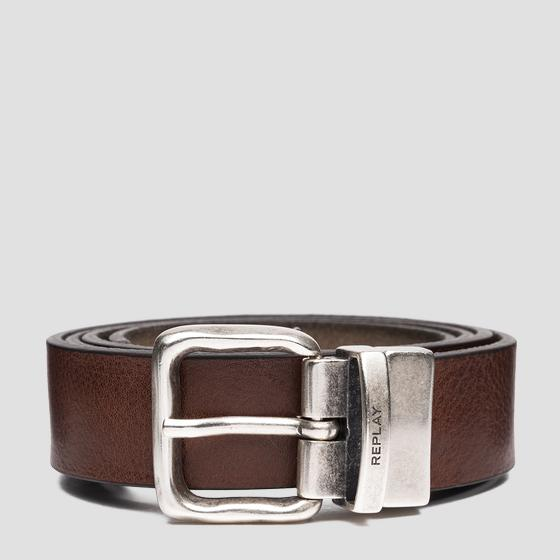 Reversible belt in leather and suede am2617.000.a3055