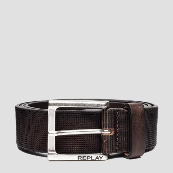 Leather belt with heat embossing am2618.000.a3007