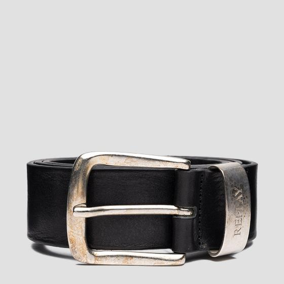 Leather belt with vintage effect am2620.000.a3007