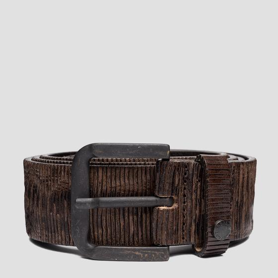 Leather belt with carving effect am2624.000.a3114