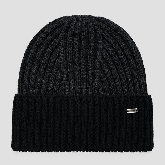 Wool blend beanie with turn-up am4246.000.a7003g