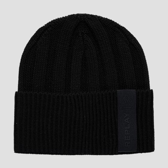 REPLAY ribbed beanie with turn-up am4248.000.a7003