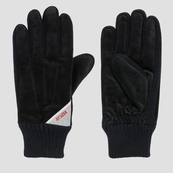 Suede and knit gloves am6018.002.a3066b