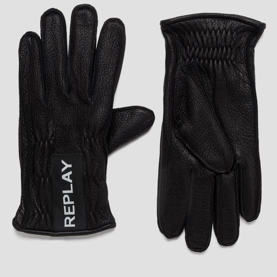 REPLAY leather gloves am6053.000.a3169b