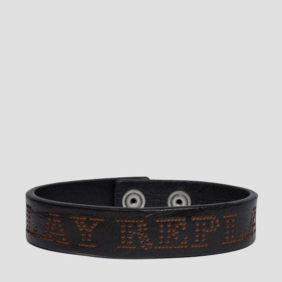 Leather bracelet with Replay writing am7051.000.a3007