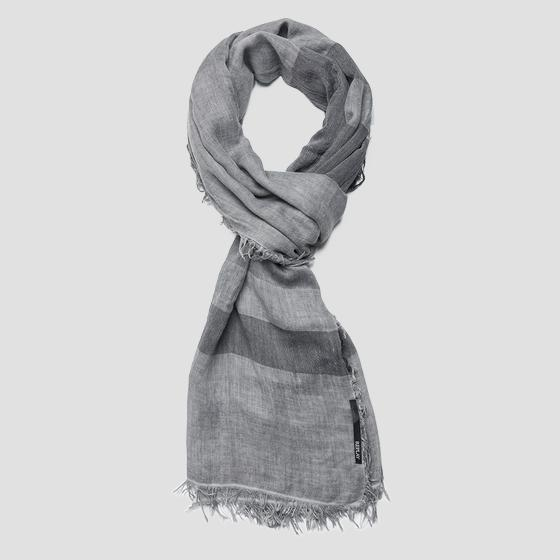 Striped scarf with fringed edges am9203.000.a0224b