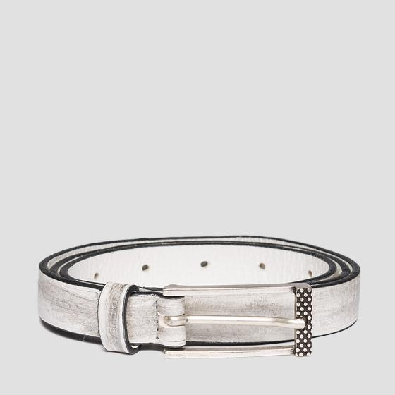 Thin belt in pull up leather aw2496.000.a3007