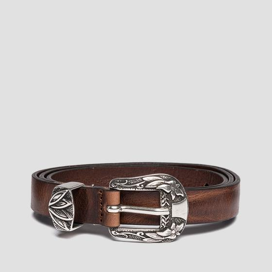 Belt with embroidered buckle aw2500.000.a3007