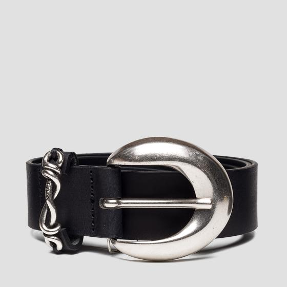 Leather belt with chain aw2538.000.a3001