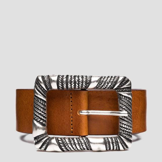 Leather belt with weaved buckle aw2559.000.a3007
