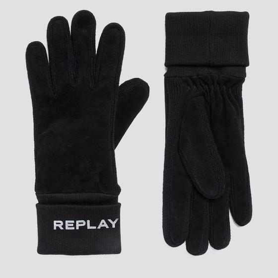 Suede and knit gloves aw6066.000.a3066b